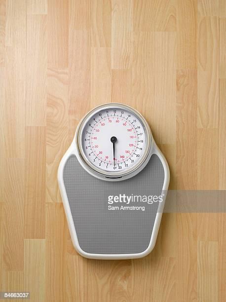 Weighing scales on wooden floor.