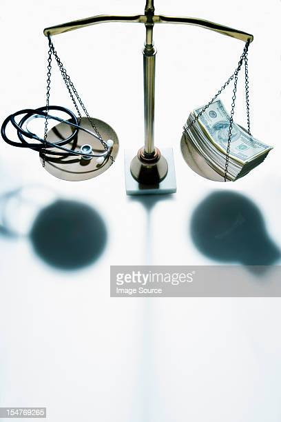 Weighing scales with stethoscope and banknotes