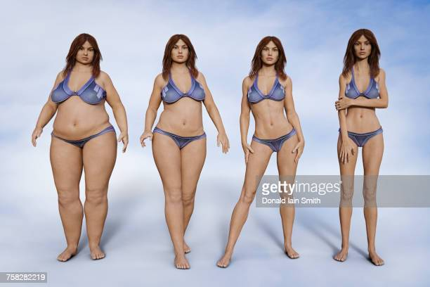 weight change of woman - swimwear stock photos and pictures