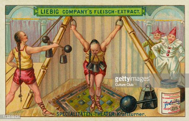 Weight lifters/ kraftturner Liebig card Variety Acts 1897