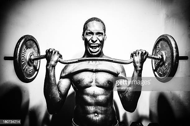 weight lifting - black male bodybuilders stock photos and pictures