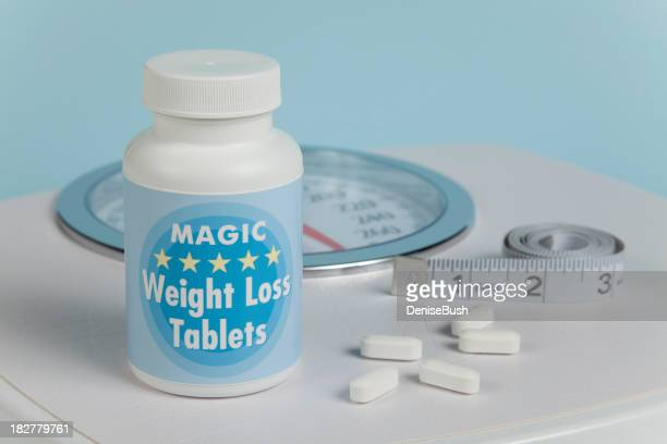 Weight Loss Tablets, Scale and Tape Measure