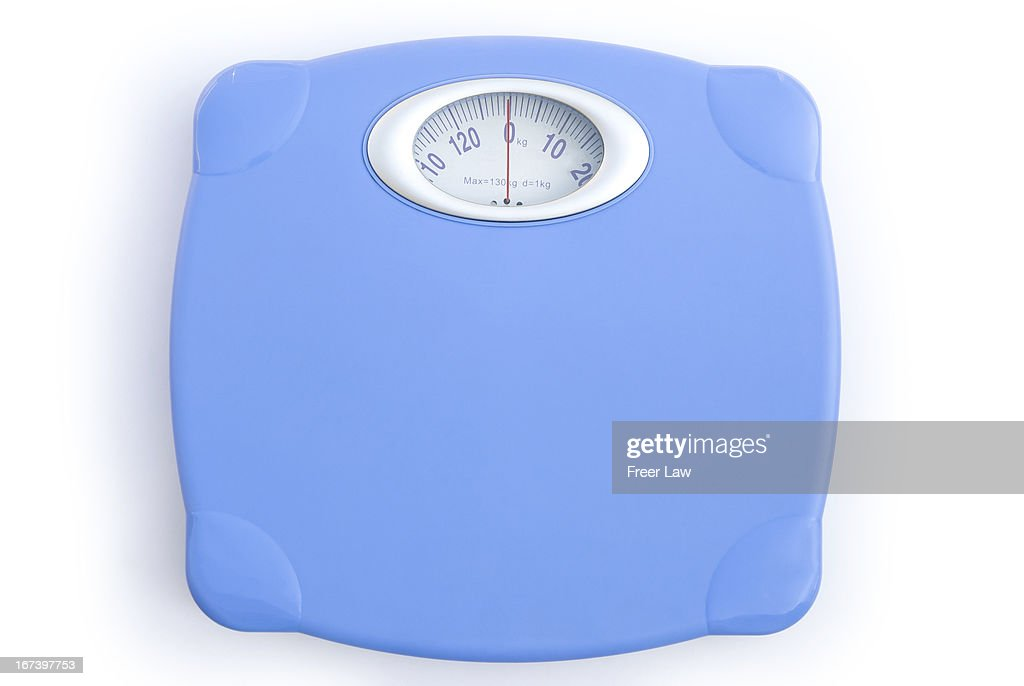 weight scale on white with clipping path : Stock Photo