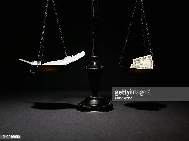 Weight scale with feather and dollar bill