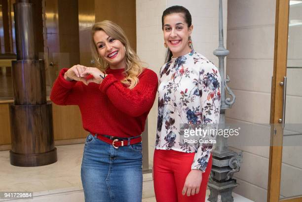 Weightlifter Lidia Valentin and Badminton player Carolina Marin attend the 'Campeonas' breakfast organized by the news agency Europa Press at the...
