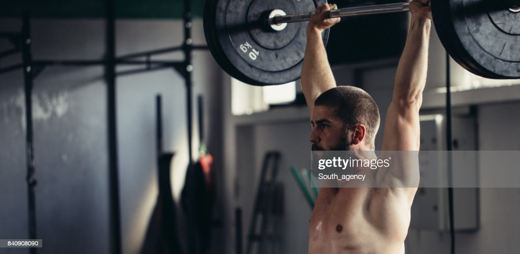 Weightlifter training : Stock Photo
