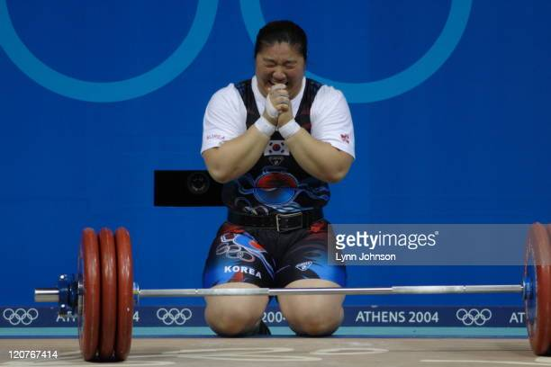 Summer Olympics: South Korea Jang Mi-Ran after Women's +75kg competition at Nikaia Olympic Weightlifting Hall. Day 8. Athens, Greece 8/21/2004...