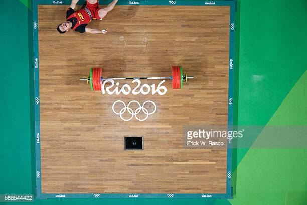 2016 Summer Olympics Aerial view of China Zhiyong Shi victorious during Men's 69kg Group A Round at Riocentro Pavillion 2 Rio de Janeiro Brazil...