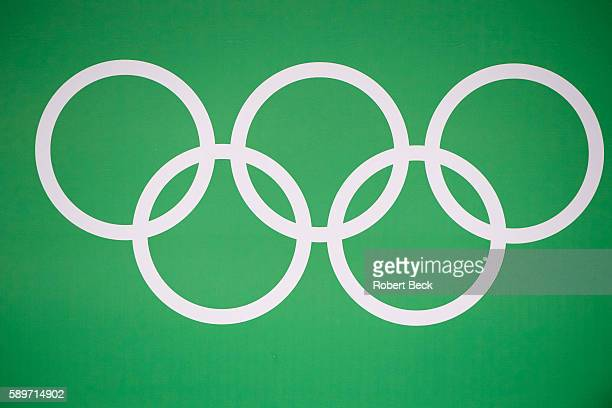 2016 Summer Olympics View of Olympic rings logo on wall during Men's 77kg Preliminary Round Group A Final at Riocentro Rio de Janeiro Brazil...