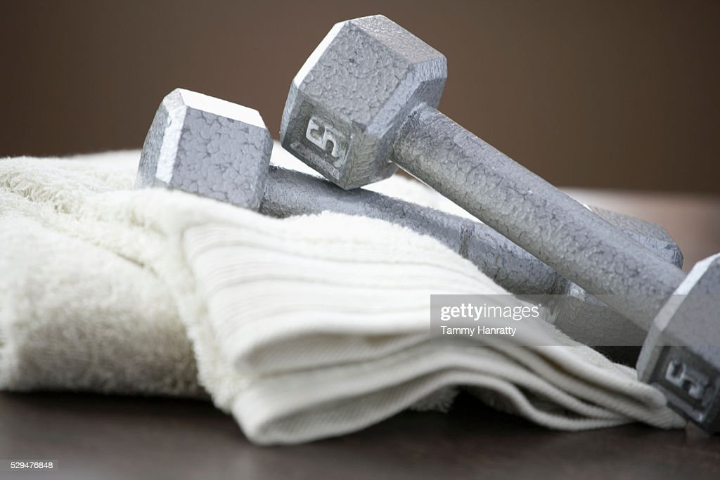 Weights and towels : Foto de stock