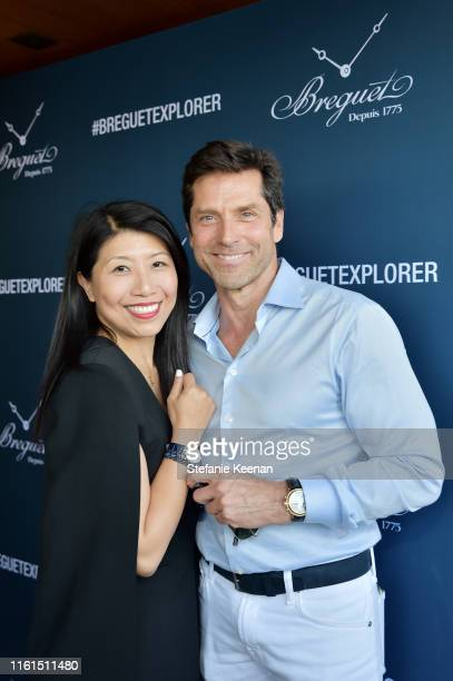 Weili Yeh and guest attend Breguet Marine Collection Launch at Little Beach House Malibu on July 11 2019 in Malibu California