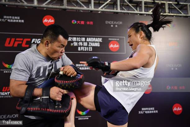 Weili Zhang of China holds an open workout session for fans and media at Upper Hills Mall on August 28 2019 in Shenzhen China