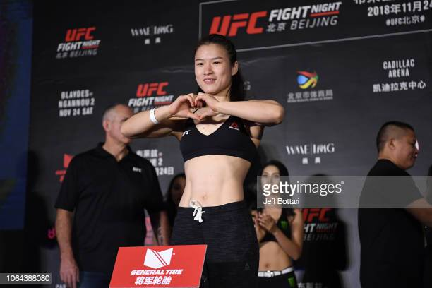 Weili Zhang of China poses on the scale during the UFC Fight Night weighin on November 23 2018 in Beijing China