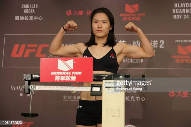 Weili Zhang poses on the scale during the UFC Fight Night weighin at Wanda Realm Hotel on November 23 2018 in Beijing China