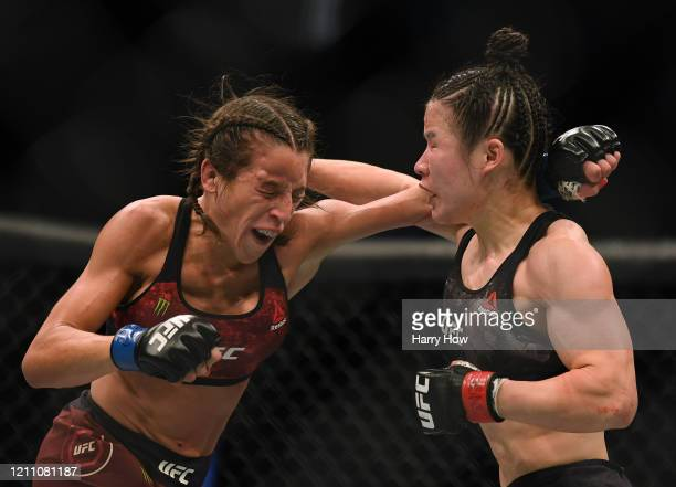 Weili Zhang punches Joanna Jedrzejczyk to a split decision win at TMobile Arena on March 07 2020 in Las Vegas Nevada