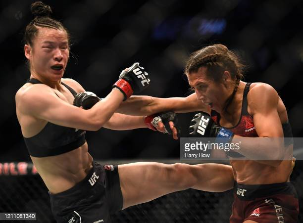 Weili Zhang takes a punch form Joanna Jedrzejczyk in a Zhang split decision win at TMobile Arena on March 07 2020 in Las Vegas Nevada