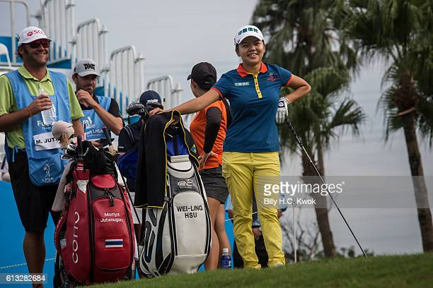WeiLing Hsu of Chinese Taipei reacts to her fans in the Fubon Taiwan LPGA Championship on October 8 2016 in Taipei Taiwan