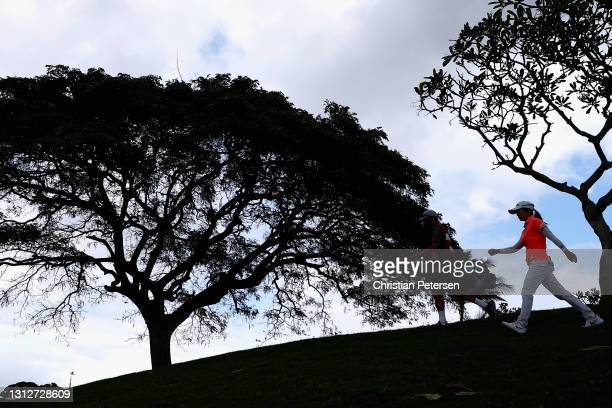 Wei-Ling Hsu of Taiwan walks to the 12th hole during the second round of the LPGA LOTTE Championship at Kapolei Golf Club on April 15, 2021 in...