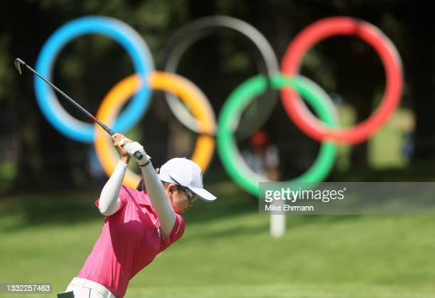 Wei-Ling Hsu of Team Chinese Taipei plays her shot from the 16th tee during the first round of the Women's Individual Stroke Play on day twelve of...