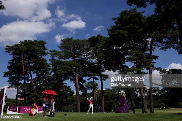 Wei-Ling Hsu of Team Chinese Taipei plays her shot from the 18th tee during the first round of the Women's Individual Stroke Play on day twelve of...