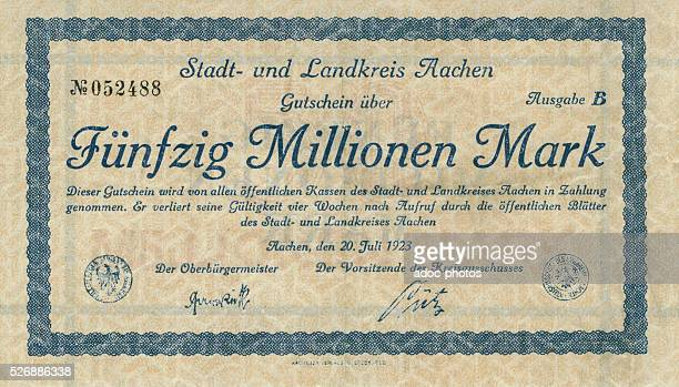 Weimar Republic Front of a German necessity money of an amount of fifty millions marks On July 20 1923