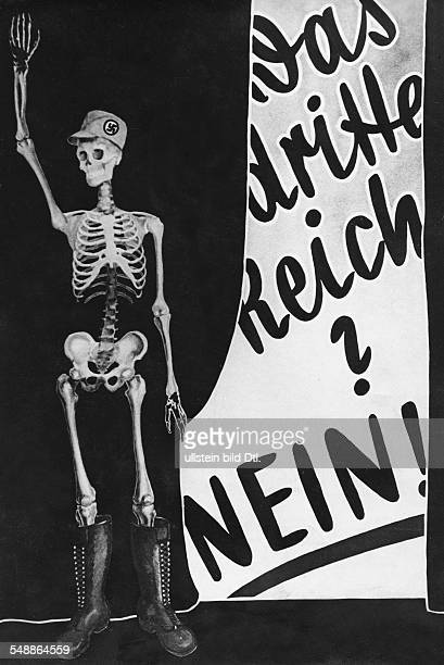 Weimar Republic Presidential elections 1932 Poster aigainst NSDAP candidate Adolf Hitler 'Third Reich' No Early in march 1932 1932 Photographer...