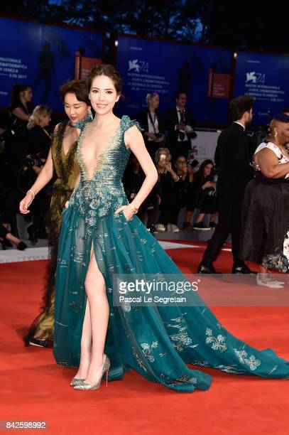WeiNing Hsu walks the red carpet ahead of the 'Three Billboards Outside Ebbing Missouri' screening during the 74th Venice Film Festival at Sala...