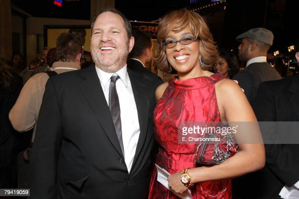 Weinstein Co's Harvey Weinstein and Gayle King at the Weinstein Company premiere of The Great Debaters at the Arclight Theater on December 11 2007 in...
