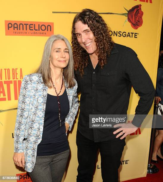 Weird Al Yankovic and wife and Suzanne Krajewski attend the premiere of How to Be a Latin Lover at ArcLight Cinemas Cinerama Dome on April 26 2017 in...