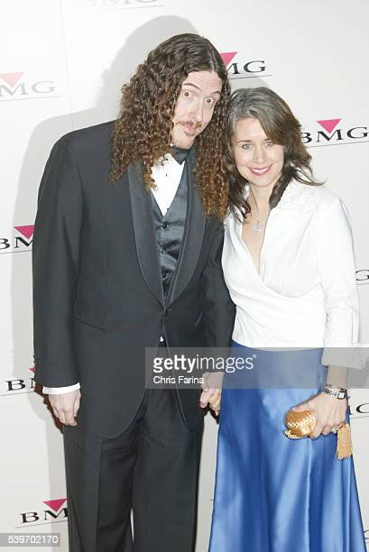 Weird Al Yankovic and wife Suzanne Krajewski arrive at the BMG Grammy After Party at Avalon