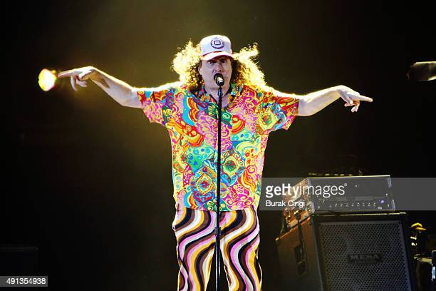 Weird Al Yankovic performs on stage at Eventim Apollo on October 4 2015 in London England