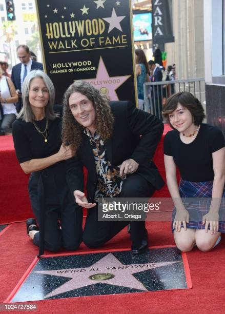 'Weird Al' Yankovic poses with wife Suzanne Krajewski and daughter Nina Yankovic at Comedic Musician Weird Al Yankovic's Star Ceremony On The...