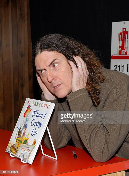 """Weird Al Yankovic promotes his new book """"When I Grow Up"""" at Bookends Bookstore on February 2, 2011 in Ridgewood, New Jersey."""