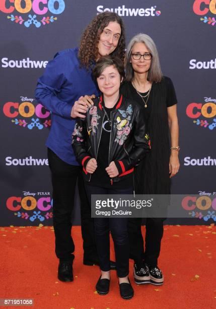 Weird Al Yankovic Suzanne Krajewski and Nina Yankovic arrive at the premiere of Disney Pixar's Coco at El Capitan Theatre on November 8 2017 in Los...