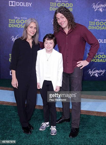 Weird Al Yankovic wife Suzanne Krajewski and daughter Nina Yankovic arrive at the Premiere of DisneyPixar's The Good Dinosaur on November 17 2015 in...