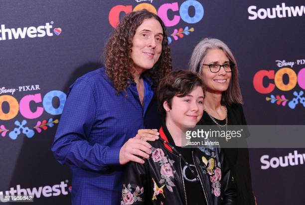 Weird Al Yankovic wife Suzanne Yankovic and daughter Nina Yankovic attend the premiere of 'Coco' at El Capitan Theatre on November 8 2017 in Los...