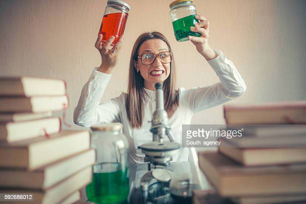 Weird girl chemist in her lab