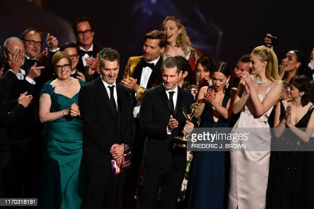 B Weiss and cast and crew of Game of Thrones accept the Outstanding Drama Series award onstage during the 71st Emmy Awards at the Microsoft Theatre...