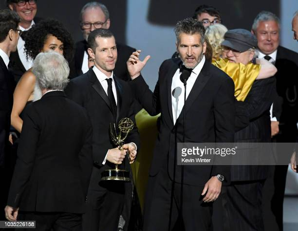 D B Weiss and David Benioff accept the Outstanding Drama Series award for 'Game of Thrones ' onstage during the 70th Emmy Awards at Microsoft Theater...