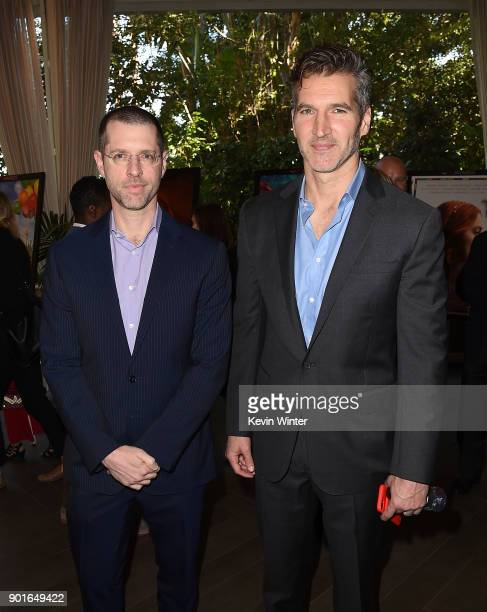 D B Weiss and David Benioff attend the 18th Annual AFI Awards at Four Seasons Hotel Los Angeles at Beverly Hills on January 5 2018 in Los Angeles...