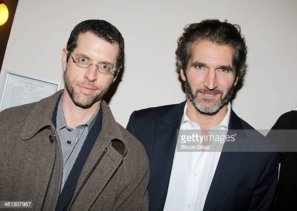 D B Weiss and David Benioff attend the opening night after party for The Commons Of Pensacola at Brasserie 8 1/2 on November 21 2013 in New York City