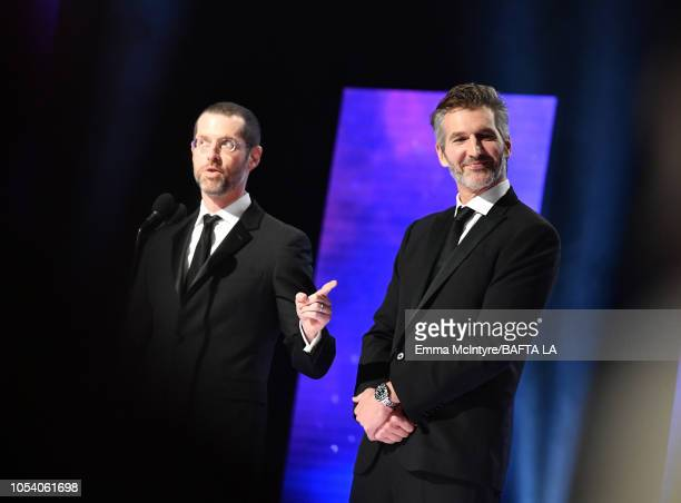 B Weiss and David Benioff present th Britannia Award for British Artist of the Year at the 2018 British Academy Britannia Awards presented by Jaguar...
