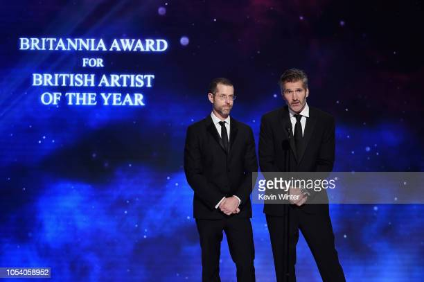 D B Weiss and David Benioff present the Britannia Award for British Artist of the Year onstage at the 2018 British Academy Britannia Awards presented...