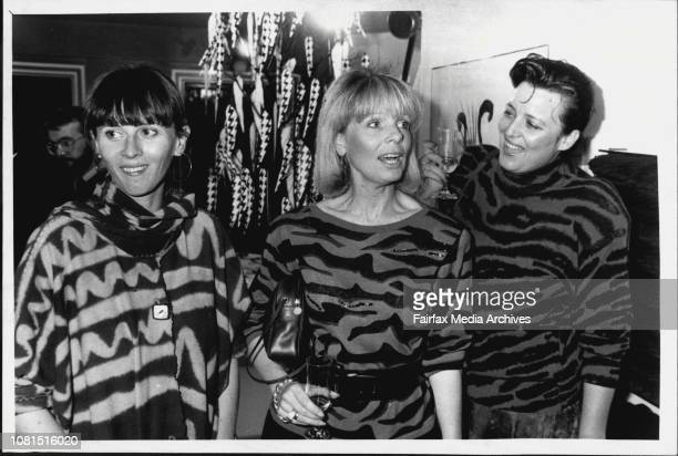 Weiss Art opening at David JonesKate Stead Caroline Roberts Sue Bredow May 12 1987