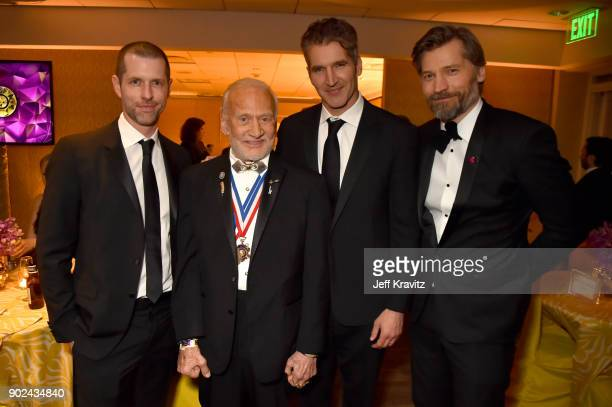 D B Weiss Buzz Aldrin David Benioff and Nikolaj CosterWaldau attend HBO's Official 2018 Golden Globe Awards After Party on January 7 2018 in Los...