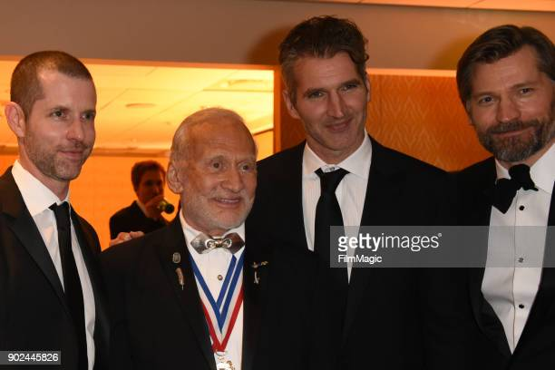 DB Weiss Buzz Aldrin David Benioff and Nikolaj CosterWaldau attend HBO's Official 2018 Golden Globe Awards After Party on January 7 2018 in Los...