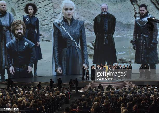 Weiss, David Benioff and cast and crew accept award for Outstanding Drama Series, 'Game of Thrones' onstage during the 70th Emmy Awards at Microsoft...