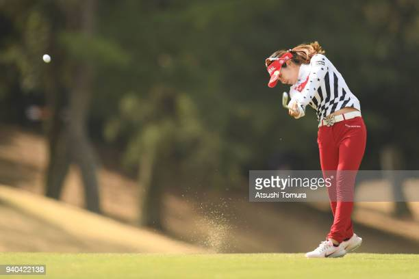 Weiwei Zhang of China hits her second shot on the 1st hole during the third round of the Yamaha Ladies Open at Katsuragi Golf Club Yamana Course on...