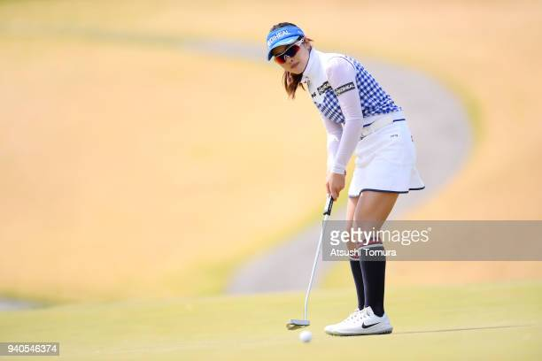 Weiwei Zhang of China putts on the 6th hole during the final round of the Yamaha Ladies Open Katsuragi at the Katsuragi Golf Club on April 1 2018 in...