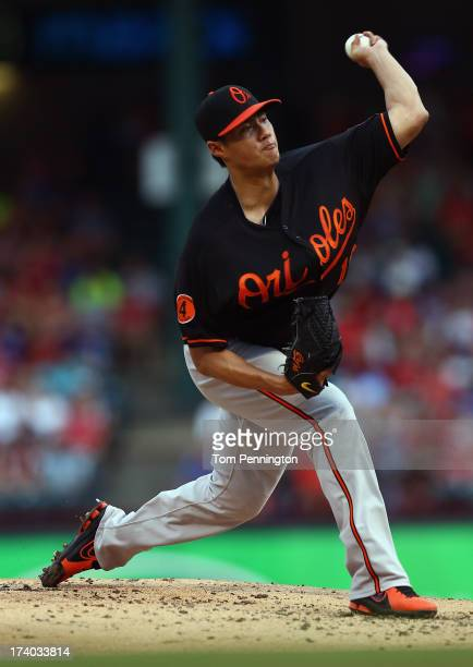Wei-Yin Chen of the Baltimore Orioles pitches against the Texas Rangers in the bottom of the first inning at Rangers Ballpark in Arlington on July...